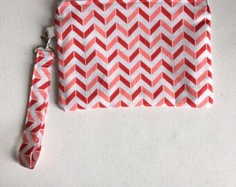 Pink herringbone zipper pouch