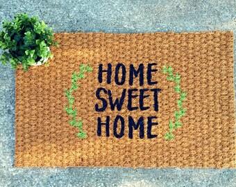 Home Sweet Home Doormat – Laurel Wreath – Welcome Mat - Rustic Decor - Housewarming Gift - Decorative Doormat