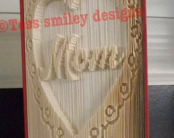 beautiful mom in a lacy heart gift mothersday book fold bookfolding design