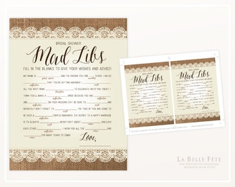 BRIDAL SHOWER GAME Mad Libs / Burlap and Lace rustic chic
