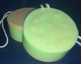 Three Butters Plus Oatmeal Luffa Soap on a Rope scented with Jamaica Me Crazy FO