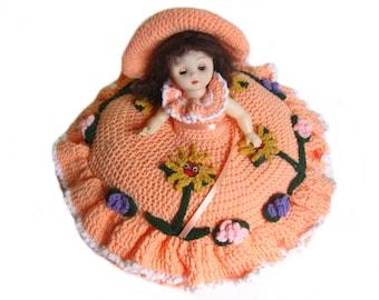 1980s Crochet Bed Doll, Pillow Doll, Orange Crochet Dress, Bed Decor, gift for girls