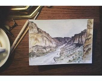 Colorado River through Grand Canyon Watercolor Print