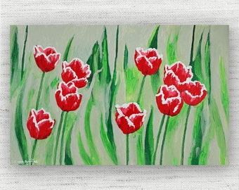 Red Floral Painting Print Canvas Art from Tulip Fine Art Canvas Painting - Red Tulip Floral Art Print