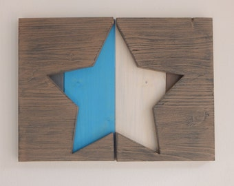 Star of colorful wooden pallets