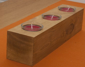 Reclaimed Pine candle holder with glass cups for tea lights or votive candles