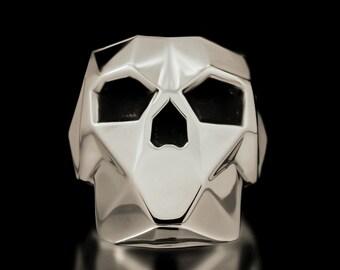 Faceted Skull Ring Sterling Silver Geometrical Shapes Skulls