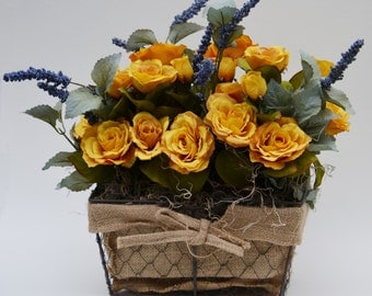 Faux, Silk Rose Flower Arrangement, Floral Arrangement