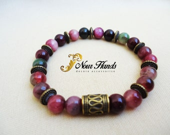 Rainbow Amber stretch bracelet