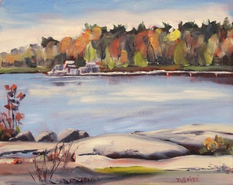 Small Art - Beausoleil Island in October 10x8  - Oil Painting - SHIPPING Included