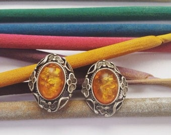 Vintage Earrings with Baltic Amber