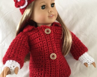 American Girl Doll Sweater/Jacket, Hat and Gloves
