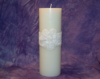 Lace Flower Unity Candle Set