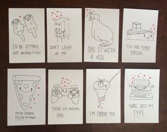 Punny Valentine Illustration Prints
