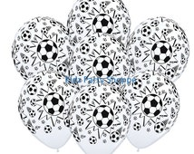 7ct SOCCER Ball Latex Balloons Birthday Party Tournament Banquet Ideas Supplies Decorations Centerpiece Photo Prop