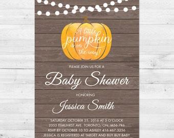 Fall Baby Shower Invitation, Pumpkin Baby Shower Invitation, Rustic Shower Invite, Gender Neutral, Little Pumpkin, Lanterns, Rustic Pumpkin