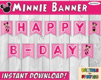 50% OFF - Minnie Birthday Banner, Minnie Happy Birthday Banner, Party Banner, Minnie Banner, Minnie Decoration, Minnie Mouse Party