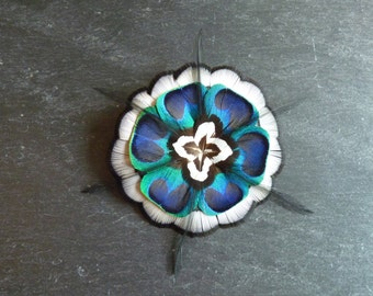 Barrette, PIN, comb for hair with natural feathers - Peacock, pheasant, Rooster