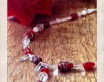 Red and white glass beaded necklace