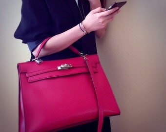 Kelly Bag Love Red Leather Handbag - Crossbody bag - Shoulder Bag with silver tone lock & keys - Gift for her