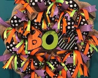 Halloween Wreath, Boo Wreath, Happy Halloween