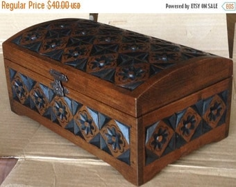 hand carved wooden box, wooden box, jevellery box
