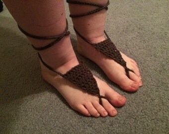 Bohemian Style Barefoot Sandals / Crocheted Barefoot Sandals