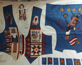 Americana Vest Panel, 6-20,  DreamSpinners, Patriotic, Uncle Sam, July 4th, Button Covers, USA Patchwork Sew it Yourself, OOP, Out of Print,