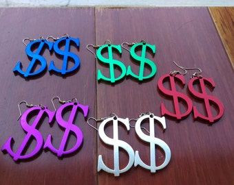 RED Dollar Sign Earrings