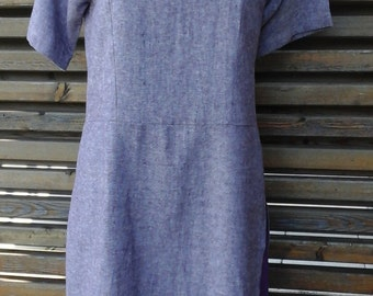 Dress bi material linen and cotton
