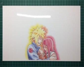 Minato Naruto Kushina drawing print