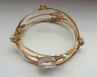 Set of three Large Gold coloured bangles with Swarovski crystals & pearls - gift box - Free first class postage