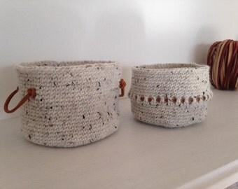 set of 2 baskets, baskets, ashtray