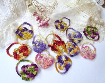 Pansies ,  Crochet flowers pansies  , crochet pansy ,  appliques tiny  pansies - set of 12.