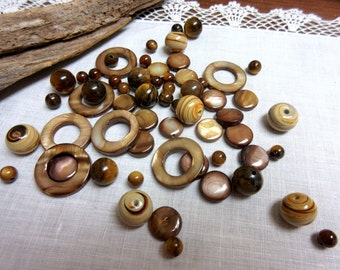 Jewelry Beads  Brown  Beads Round Coin Pendant Bead Kit * DIY Jewelry Kit * Bead Kit, Jewelry Making Kit Jewelry Supplies