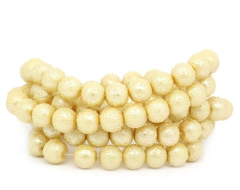 Strand of 8 mm Textured Glass Beads - Light Gold (1416)