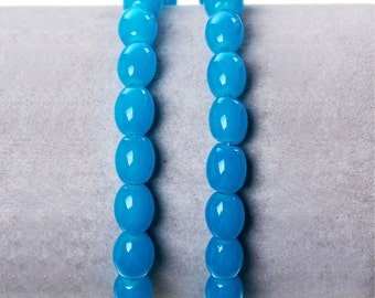1 Strand Oval Blue Glass Beads 8mm (B117b)