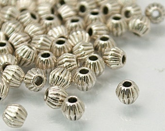 100 Antique Silver Tibetan Bicone Spacer Beads 4.5m (B2)
