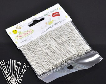 "1 Pack(300PCs) Well Sorted Silver Plated Head Pins 4cm(1-5/8"") (B31)"