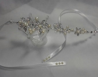 Crystal and pearl flower headpiece