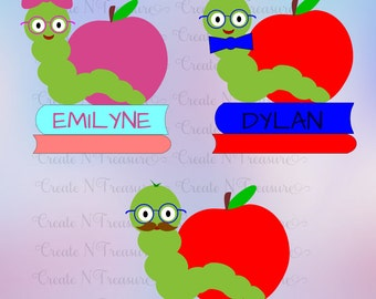 Back to School SVG, Bookworm svg, first day of school svg.  Cutting file for Silhouette Cameo and Cricut . Book nerd svg, reading SVG, DXF.
