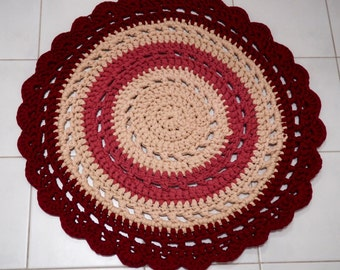 73 cm Multicoloured Crocheted Round Doily Rug/ Accent rug - ready to ship