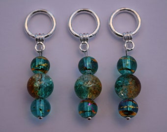 A set of three snag-less turquoise blue, with yellow and pink,  beaded Stitch markers for knitting. For needles up to 6mm. US size 10.