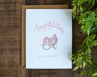 Baby Congratulations Card, Baby Greeting Card for girl, New Baby Card, Handmade Card