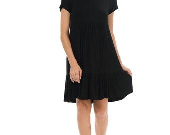Women's Ruffle-Hem Empire-Waist Dress (5 COLORS)