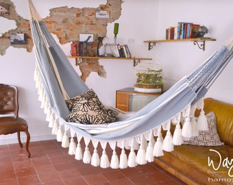 tassels hammock, boho chic hammock, handwoven hammock, balcony furniture, double hammock, indoor hammock, luxury hammock,