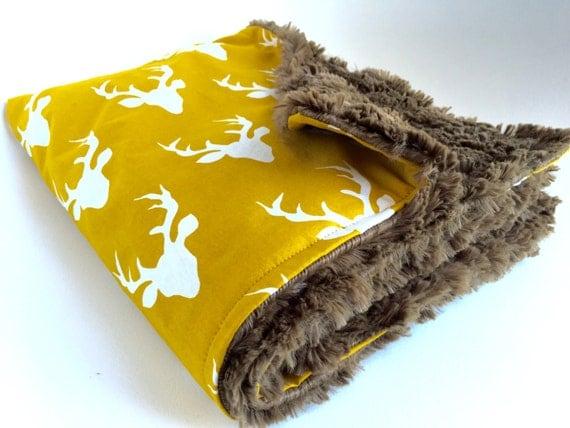 Baby Blanket, Buck Print, Woodland theme, Buck Print Blanket, minky baby blanket, baby shower gift, crib blanket, receiving blanket