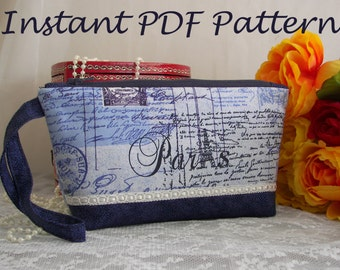 Sewing Bag Pattern Tutorial pouch cosmetic makeup zipper Stylish PDF instant Download measurements in cm & inches