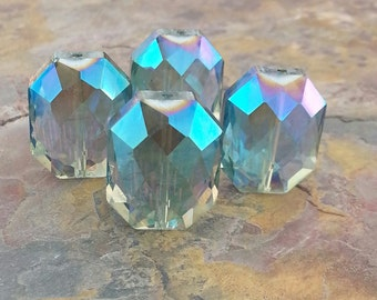 4 Large Octagonal Glass Crystal Beads, Blue Green, AB Finish, 20.5x16x11mm
