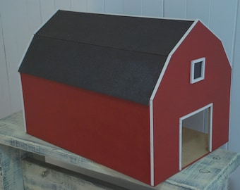 Red Toy Barn with Hay Loft and Horse Animal Stalls, Pretend Farm, Play House Kids, Boy Birthday, Boy Gift, Cow, Pig, Horse, Tractor, Rodeo